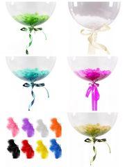 Гелиевый прозрачный шар-сфера Deco Bubbles (Баблс) 40 см., с перьями-цвета в ассортименте