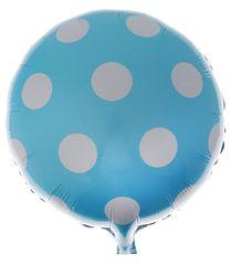 """№029 Шар фольгированный, с гелием """"Большие точки"""". Нежно-голубой.. 45 см."""