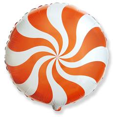"""№011 """"Конфета Леденец"""" Оранжевая. С гелием. 45 см"""