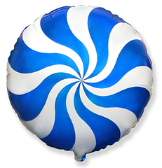 "№015 ""Конфета Леденец"" Синяя. С гелием. 45 см."