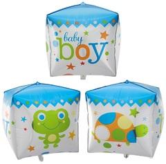 """№028 Фигура с гелием. Куб """"boy"""" 60 см."""