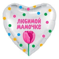 """№522 Фигура с гелием. Фольгированное сердце """"Любимой мамочке"""" 45 см."""