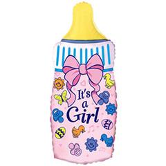 """№022 Фигура с гелием. Бутылочка """"Это девочка"""".  88 см*43 см."""