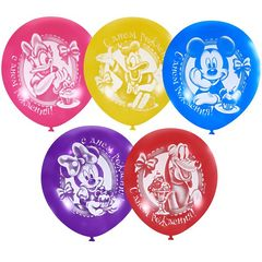 """№025 """"С Днём рождения"""" Дисней Микки-Маус и друзья. 2-сторонний рисунок (шёлк). С гелием. 30 см."""