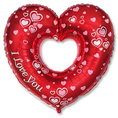 №516 Фольгированное сердце с рисунком, наполненное гелием. 70см*80см.