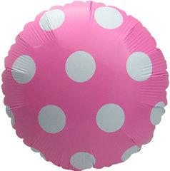 """№025 Шар фольгированный, с гелием """"Большие точки"""". Розовый. 45 см."""