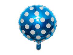 """№028 Шар фольгированный, с гелием """"Большие точки"""". Синий. 45 см."""