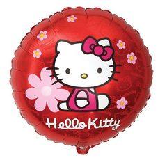 "№081 ""Hello Kitty"" в цветочках. С гелием.45 см."